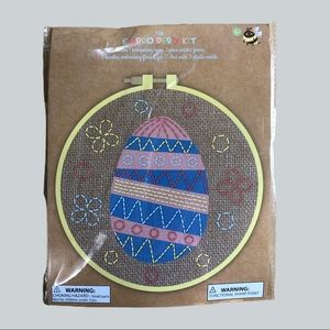 Striped Egg Embroidery Kit with Hoop